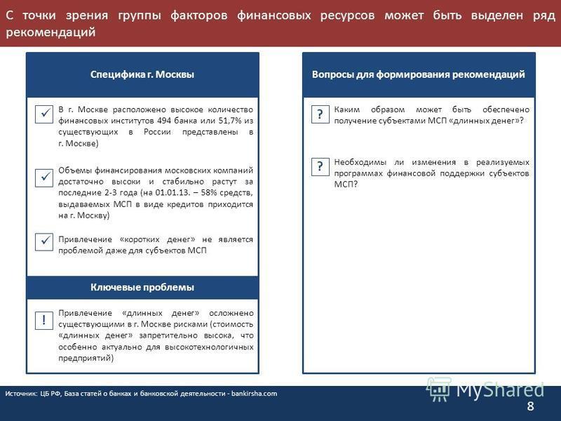 С точки зрения группы факторов финансовых ресурсов может быть выделен ряд рекомендаций 8 Специфика г. Москвы Вопросы для формирования рекомендаций ? ? Привлечение «коротких денег» не является проблемой даже для субъектов МСП Привлечение «длинных дене
