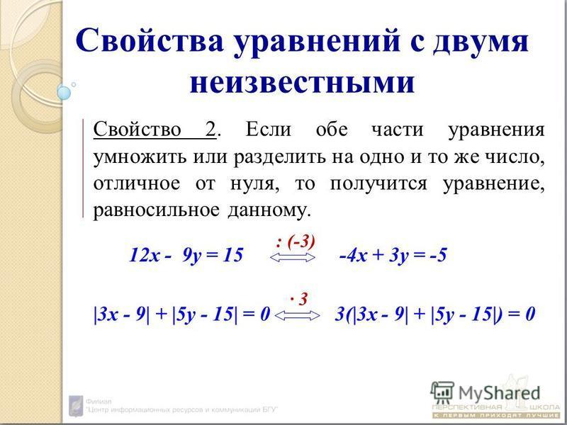 Свойства уравнений с двумя неизвестными Свойство 2. Если обе части уравнения умножить или разделить на одно и то же число, отличное от нуля, то получится уравнение, равносильное данному. 12 х - 9 у = 15 -4 х + 3 у = -5 |3 х - 9| + |5 у - 15| = 0 3(|3