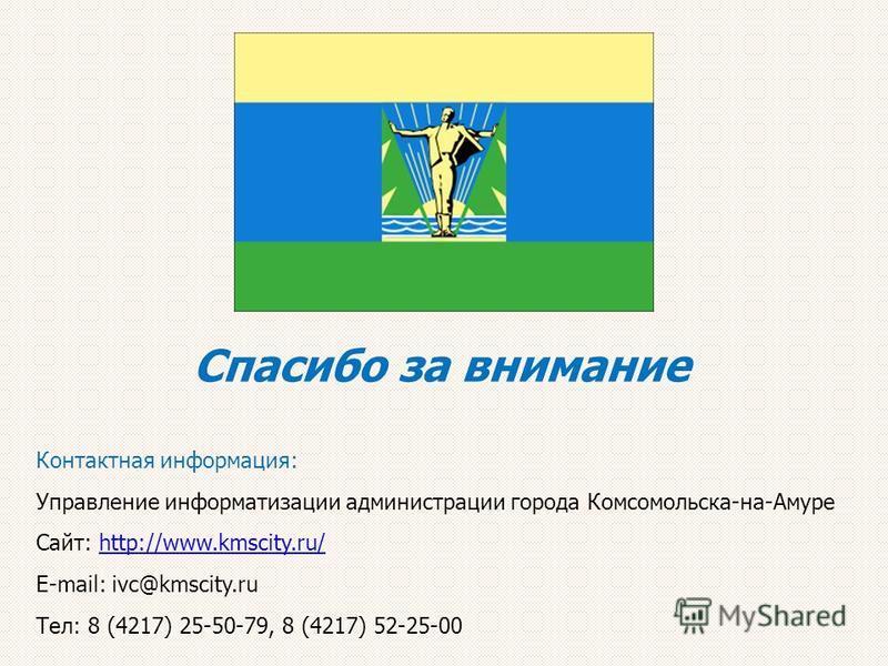 Спасибо за внимание Контактная информация: Управление информатизации администрации города Комсомольска-на-Амуре Сайт: http://www.kmscity.ru/http://www.kmscity.ru/ Е-mail: ivc@kmscity.ru Тел: 8 (4217) 25-50-79, 8 (4217) 52-25-00