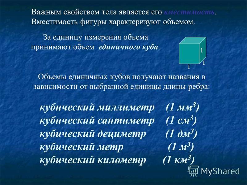 Важным свойством тела является его вместимость. Вместимость фигуры характеризуют объемом. кубический миллиметр (1 мм 3 ) кубический сантиметр (1 см 3 ) кубический дециметр (1 дм 3 ) кубический метр (1 м 3 ) кубический километр (1 км 3 ) Объемы единич