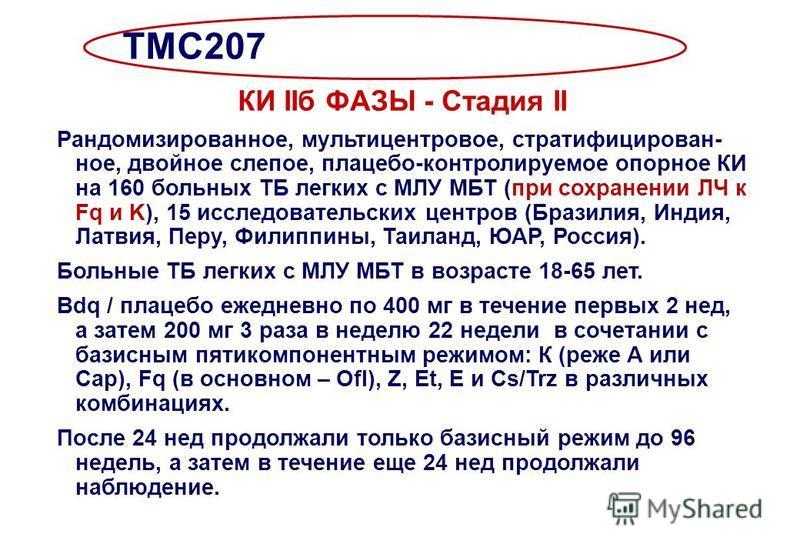 TMC207 КИ IIб ФАЗЫ - Стадия II Рандомизированное, мультицентровое, стратифицирован- ное, двойное слепое, плацебо-контролируемое опорное КИ на 160 больных ТБ легких с МЛУ МБТ (при сохранении ЛЧ к Fq и K), 15 исследовательских центров (Бразилия, Индия,