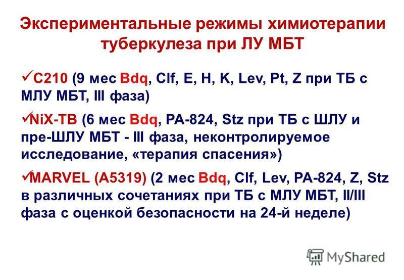 Экспериментальные режимы химиотерапии туберкулеза при ЛУ МБТ C210 (9 мес Bdq, Clf, E, H, K, Lev, Pt, Z при ТБ с МЛУ МБТ, III фаза) NiX-TB (6 мес Bdq, PA-824, Stz при ТБ с ШЛУ и пре-ШЛУ МБТ - III фаза, неконтролируемое исследование, «терапия спасения»