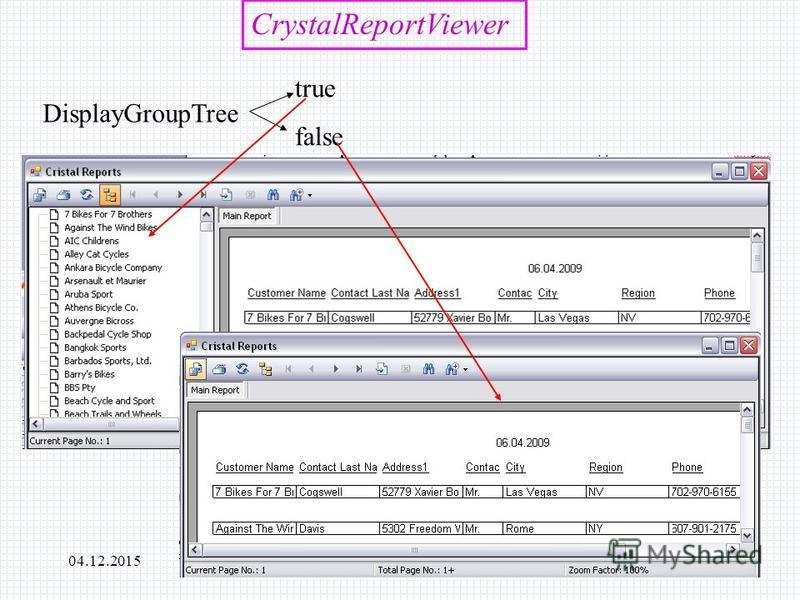 04.12.2015РЭУБД CrystalReportViewer DisplayGroupTree true false