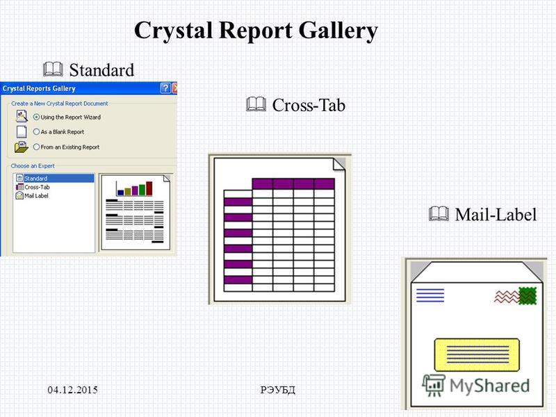 04.12.2015РЭУБД Crystal Report Gallery Standard Cross-Tab Mail-Label