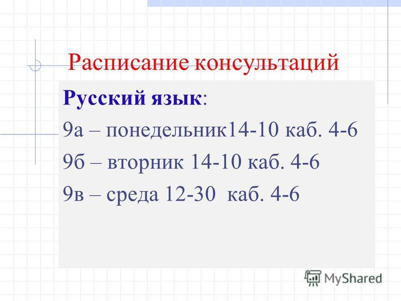 Расписание консультаций Русский язык: 9 а – понедельник 14-10 каб. 4-6 9 б – вторник 14-10 каб. 4-6 9 в – среда 12-30 каб. 4-6