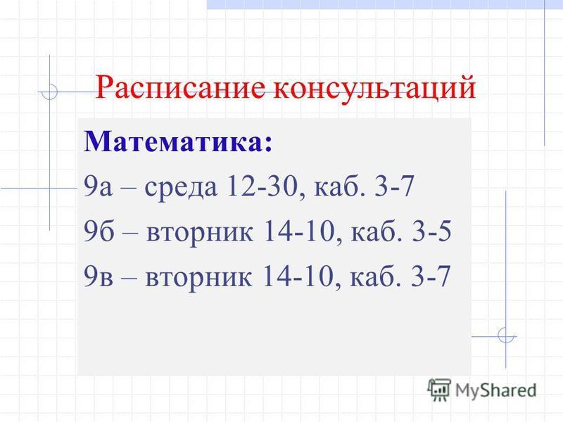 Расписание консультаций Математика: 9 а – среда 12-30, каб. 3-7 9 б – вторник 14-10, каб. 3-5 9 в – вторник 14-10, каб. 3-7