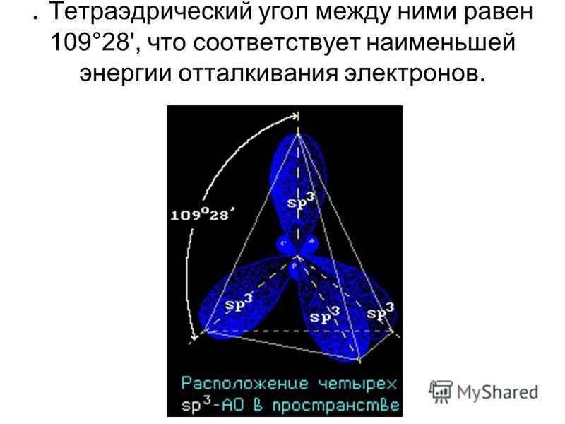 . Тетраэдрический угол между ними равен 109°28', что соответствует наименьшей энергии отталкивания электронов.