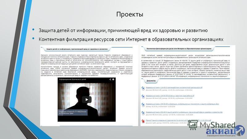 Проекты Защита детей от информации, причиняющей вред их здоровью и развитию Контентная фильтрация ресурсов сети Интернет в образовательных организациях