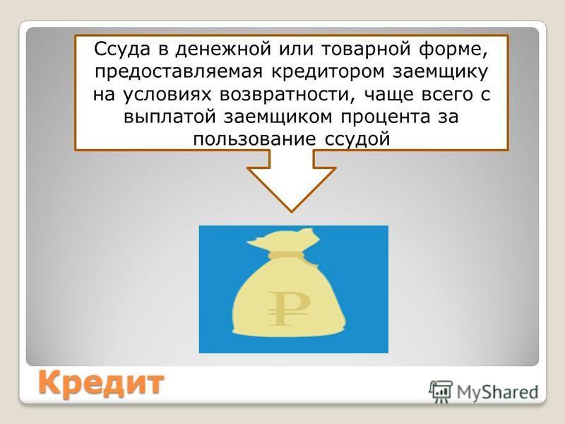 Кредит Ссуда в денежной или товарной форме, предоставляемая кредитором заемщику на условиях возвратности, чаще всего с выплатой заемщиком процента за пользование ссудой