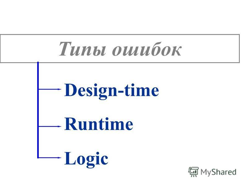 Типы ошибок Design-time Runtime Logic