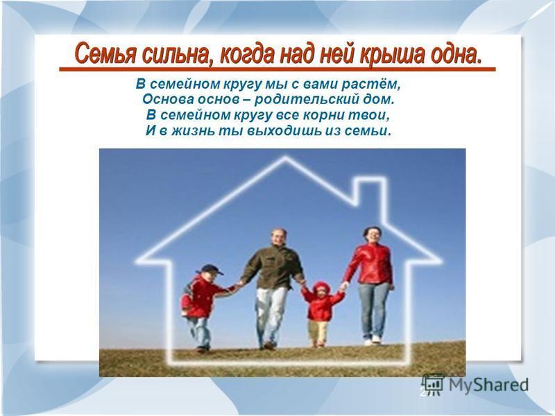 25 В семейном кругу мы с вами растём, Основа основ – родительский дом. В семейном кругу все корни твои, И в жизнь ты выходишь из семьи.