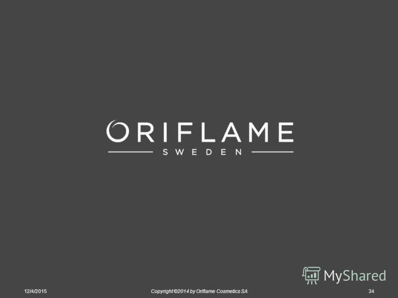 12/4/2015Copyright ©2014 by Oriflame Cosmetics SA34