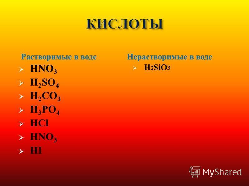 HNO 3 H 2 SO 4 H 2 CO 3 H 3 PO 4 HCl HNO 3 HI H 2 SiO 3 Растворимые в воде Нерастворимые в воде