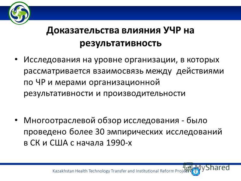 Kazakhstan Health Technology Transfer and Institutional Reform Project Доказательства влияния УЧР на результативность Исследования на уровне организации, в которых рассматривается взаимосвязь между действиями по ЧР и мерами организационной результати