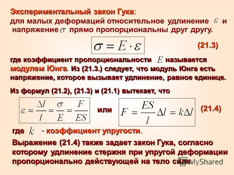 где коэффициент пропорциональности называется модулем Юнга. Из (21.3.) следует, что модуль Юнга есть напряжение, которое вызывает удлинение, равное единице. напряжение прямо пропорциональны друг другу. Экспериментальный закон Гука: для малых деформац