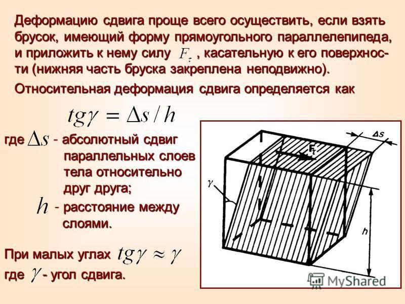 Деформацию сдвига проще всего осуществить, если взять брусок, имеющий форму прямоугольного параллелепипеда, и приложить к нему силу, касательную к его поверхнос- ти (нижняя часть бруска закреплена неподвижно). Относительная деформация сдвига определя