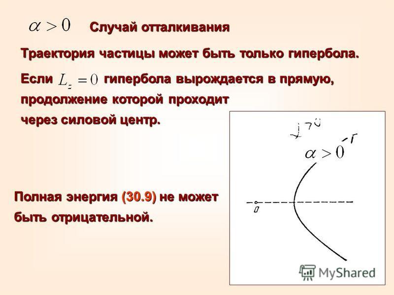 Случай отталкивания Траектория частицы может быть только гипербола. Если гипербола вырождается в прямую, продолжение которой проходит через силовой центр. Полная энергия (30.9) не может быть отрицательной.
