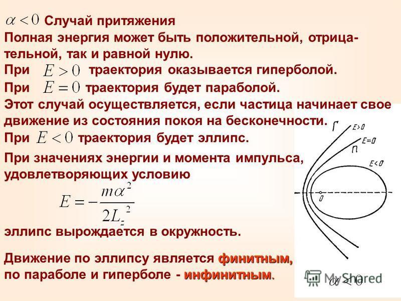 При траектория будет эллипс. При траектория будет параболой. Случай притяжения Полная энергия может быть положительной, отрица- тельной, так и равной нулю. При траектория оказывается гиперболой. Этот случай осуществляется, если частица начинает свое