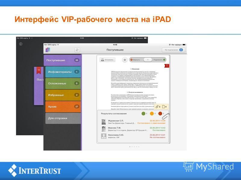 Интерфейс VIP-рабочего места на iPAD