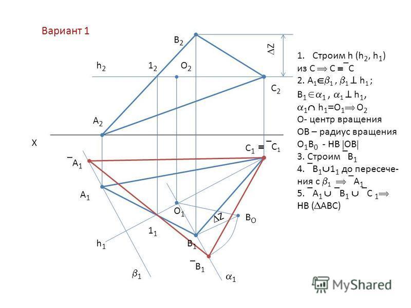 Х А2А2 В2В2 С2С2 С1С1 А1А1 В1В1 В 1 А 1 1 ВОВО О1О1 О2О2 1212 1 h2h2 h1h1 Z Z 1 С 1 1. Строим h (h 2, h 1 ) из С С С 2. А 1 1, 1 h 1 ; В 1 1, 1 h 1, 1 h 1 О 1 О 2 О- центр вращения ОВ – радиус вращения О 1 В 0 - НВ ОВ 3. Строим В 1 4. В 1 1 1 до пере