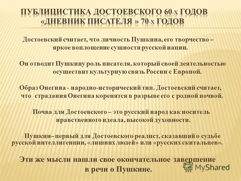 Достоевский считает, что личность Пушкина, его творчество – яркое воплощение сущности русской нации. Он отводит Пушкину роль писателя, который своей деятельностью осуществит культурную связь России с Европой. Образ Онегина - народно-исторический тип.