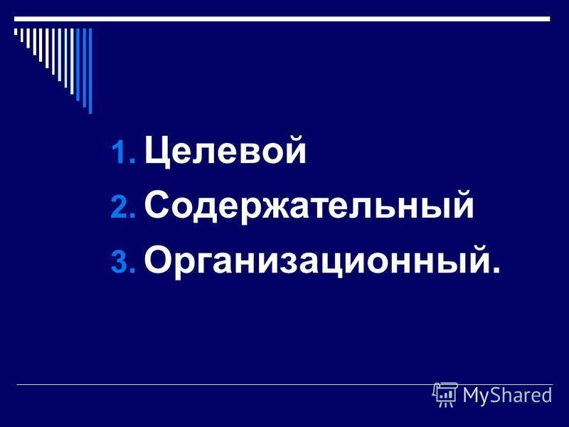1. Целевой 2. Содержательный 3. Организационный.
