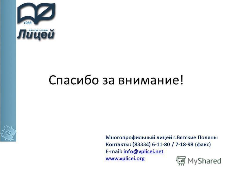 Спасибо за внимание! Многопрофильный лицей г.Вятские Поляны Контакты: (83334) 6-11-80 / 7-18-98 (факс) E-mail: info@vplicei.netinfo@vplicei.net www.vplicei.org