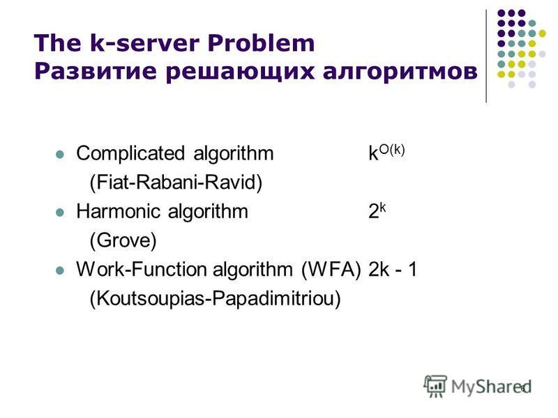 6 The k-server Problem Развитие решающих алгоритмов Сomplicated algorithmk O(k) (Fiat-Rabani-Ravid) Harmonic algorithm2 k (Grove) Work-Function algorithm (WFA)2k - 1 (Koutsoupias-Papadimitriou)