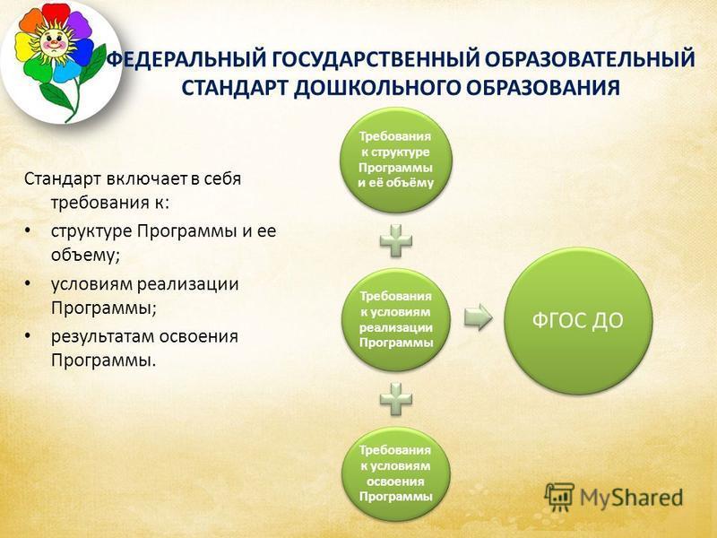 Стандарт включает в себя требования к: структуре Программы и ее объему; условиям реализации Программы; результатам освоения Программы. Требования к структуре Программы и её объёму Требования к условиям реализации Программы Требования к условиям освое