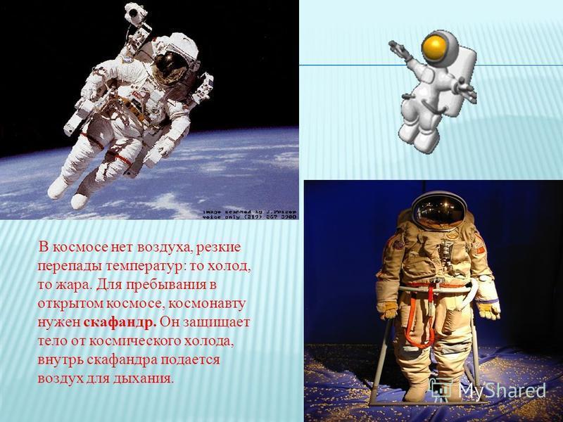В космосе нет воздуха, резкие перепады температур: то холод, то жара. Для пребывания в открытом космосе, космонавту нужен скафандр. Он защищает тело от космического холода, внутрь скафандра подается воздух для дыхания.