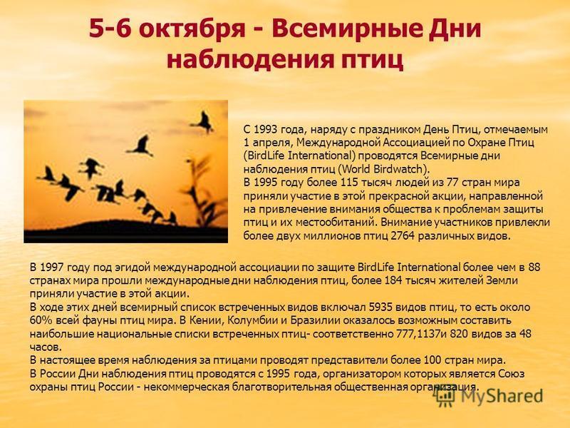 5-6 октября - Всемирные Дни наблюдения птиц С 1993 года, наряду с праздником День Птиц, отмечаемым 1 апреля, Международной Ассоциацией по Охране Птиц (BirdLife International) проводятся Всемирные дни наблюдения птиц (World Birdwatch). В 1995 году бол