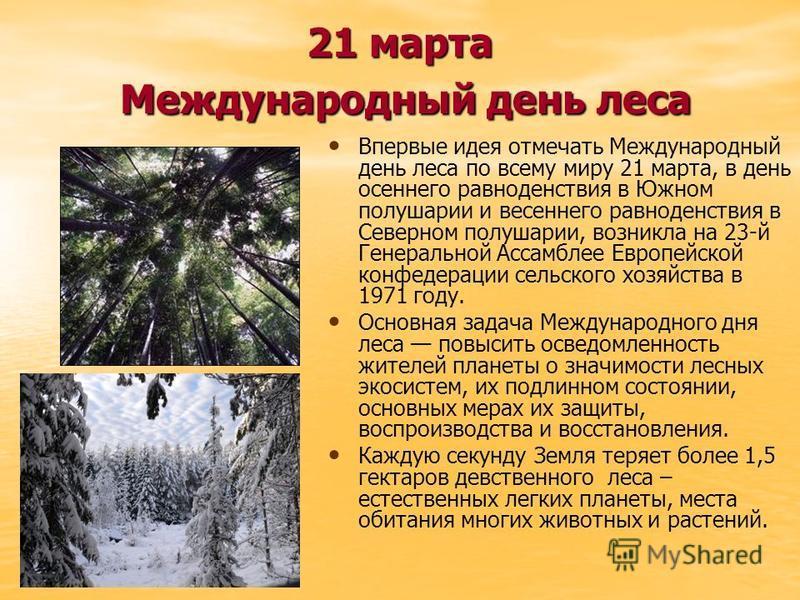 21 марта Международный день леса Впервые идея отмечать Международный день леса по всему миру 21 марта, в день осеннего равноденствия в Южном полушарии и весеннего равноденствия в Северном полушарии, возникла на 23-й Генеральной Ассамблее Европейской