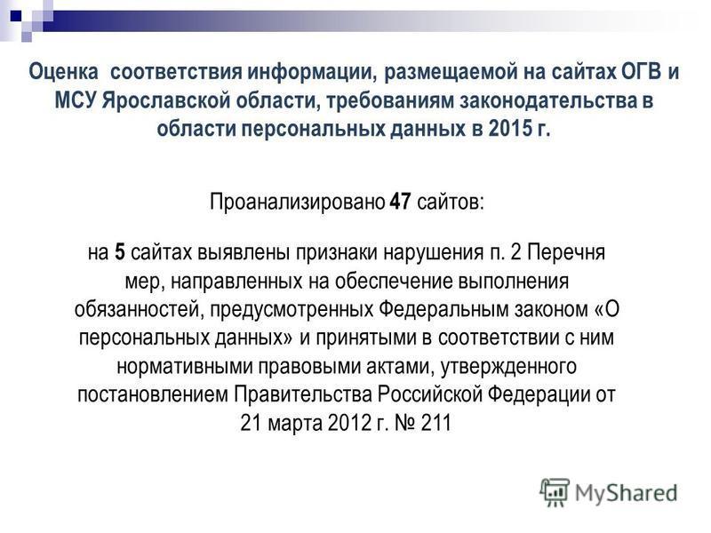 Оценка соответствия информации, размещаемой на сайтах ОГВ и МСУ Ярославской области, требованиям законодательства в области персональных данных в 2015 г. Проанализировано 47 сайтов: на 5 сайтах выявлены признаки нарушения п. 2 Перечня мер, направленн