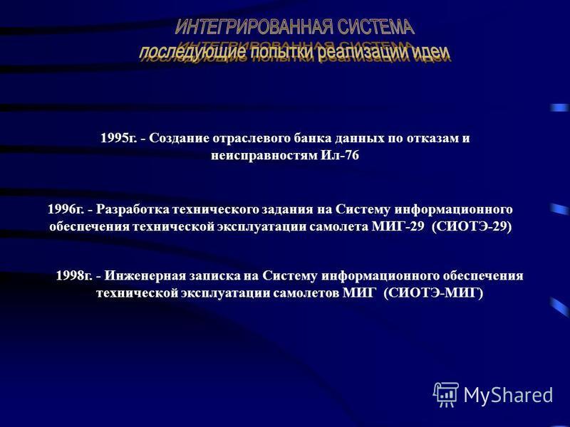 1995 г. - Создание отраслевого банка данных по отказам и неисправностям Ил-76 1996 г. - Разработка технического задания на Систему информационного обеспечения технической эксплуатации самолета МИГ-29 (СИОТЭ-29) 1998 г. - Инженерная записка на Систему