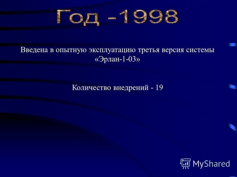Введена в опытную эксплуатацию третья версия системы «Эрлан-1-03» Количество внедрений - 19