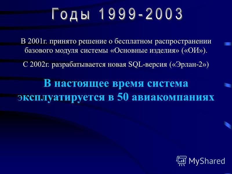В 2001 г. принято решение о бесплатном распространении базового модуля системы «Основные изделия» («ОИ»). С 2002 г. разрабатывается новая SQL-версия («Эрлан-2») В настоящее время система эксплуатируется в 50 авиакомпаниях