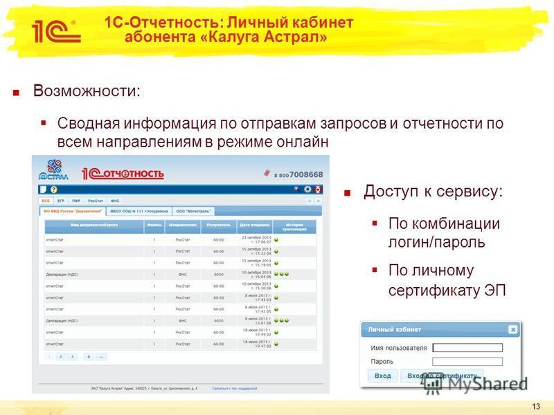 13 1С-Отчетность: Личный кабинет абонента «Калуга Астрал» Возможности: Сводная информация по отправкам запросов и отчетности по всем направлениям в режиме онлайн Доступ к сервису: По комбинации логин/пароль По личному сертификату ЭП