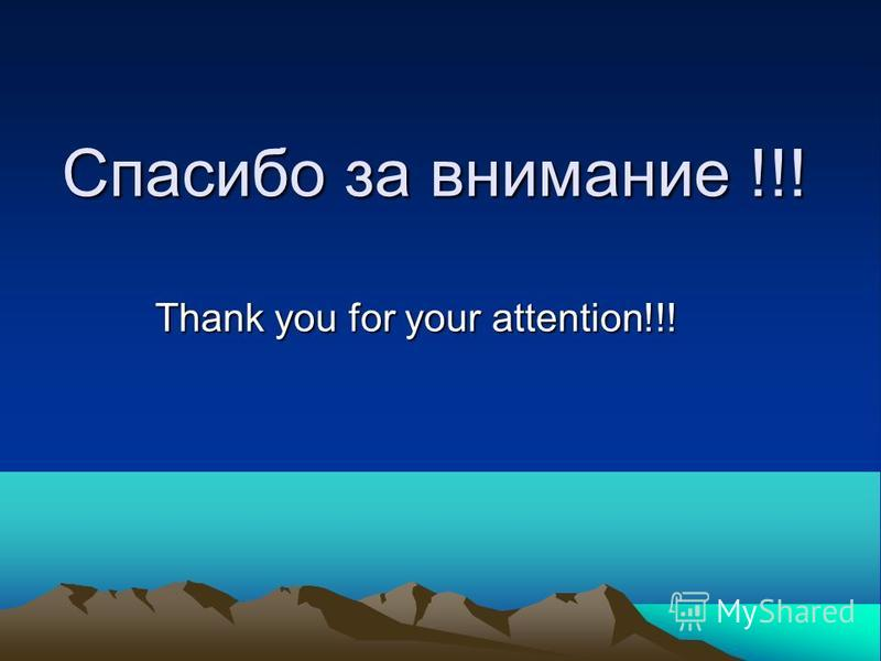 Спасибо за внимание !!! Thank you for your attention!!!