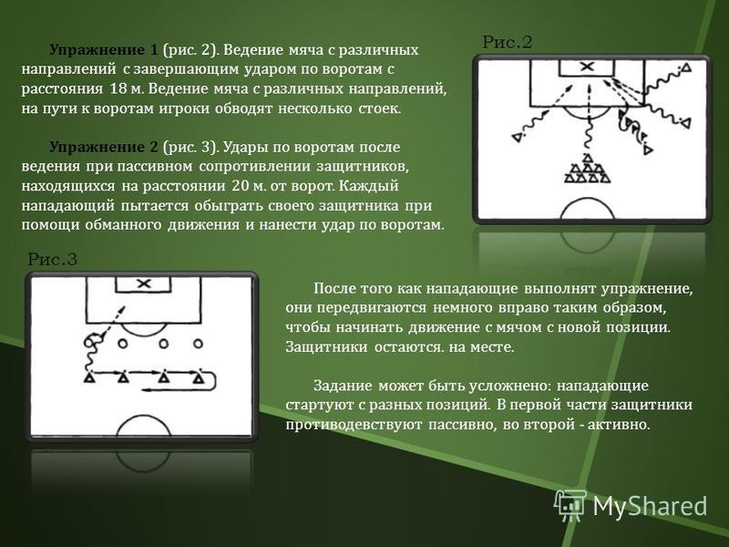 Рис.2 Упражнение 1 ( рис. 2). Ведение мяча с различных направлений с завершающим ударом по воротам с расстояния 18 м. Ведение мяча с различных направлений, на пути к воротам игроки обводят несколько стоек. Упражнение 2 ( рис. 3). Удары по воротам пос