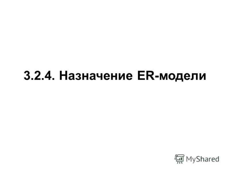 3.2.4. Назначение ER-модели