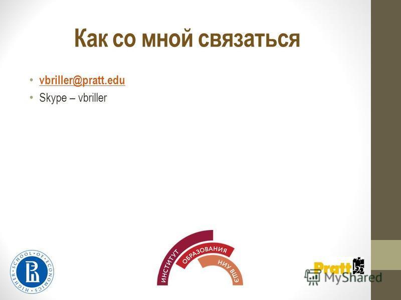 Как со мной связаться vbriller@pratt.edu Skype – vbriller