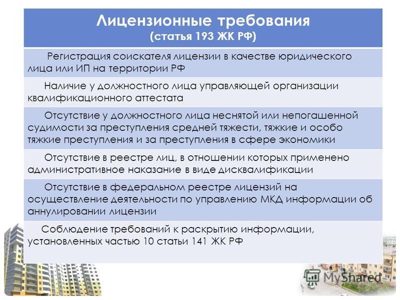 Лицензионные требования (статья 193 ЖК РФ) Регистрация соискателя лицензии в качестве юридического лица или ИП на территории РФ Наличие у должностного лица управляющей организации квалификационного аттестата Отсутствие у должностного лица неснятой ил