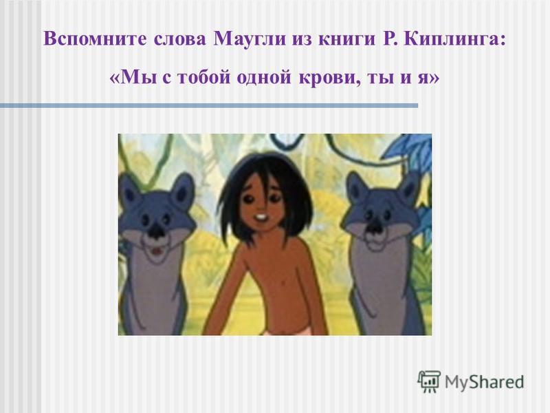 Вспомните слова Маугли из книги Р. Киплинга: «Мы с тобой одной крови, ты и я»