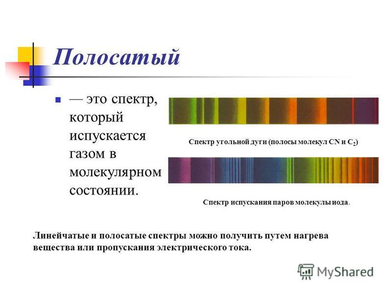 Полосатый это спектр, который испускается газом в молекулярном состоянии. Спектр угольной дуги (полосы молекул CN и C 2 ) Спектр испускания паров молекулы иода. Линейчатые и полосатые спектры можно получить путем нагрева вещества или пропускания элек