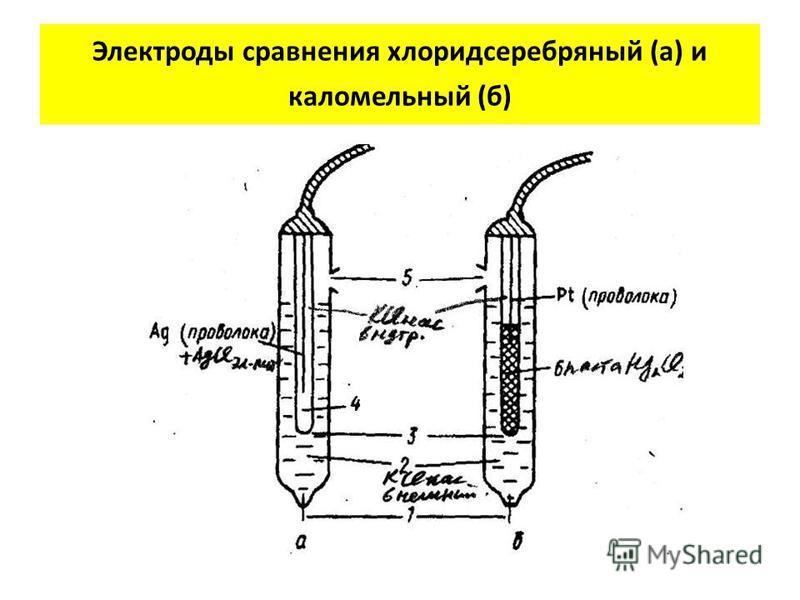 Электроды сравнения хлорид серебряный (а) и каломельный (б)