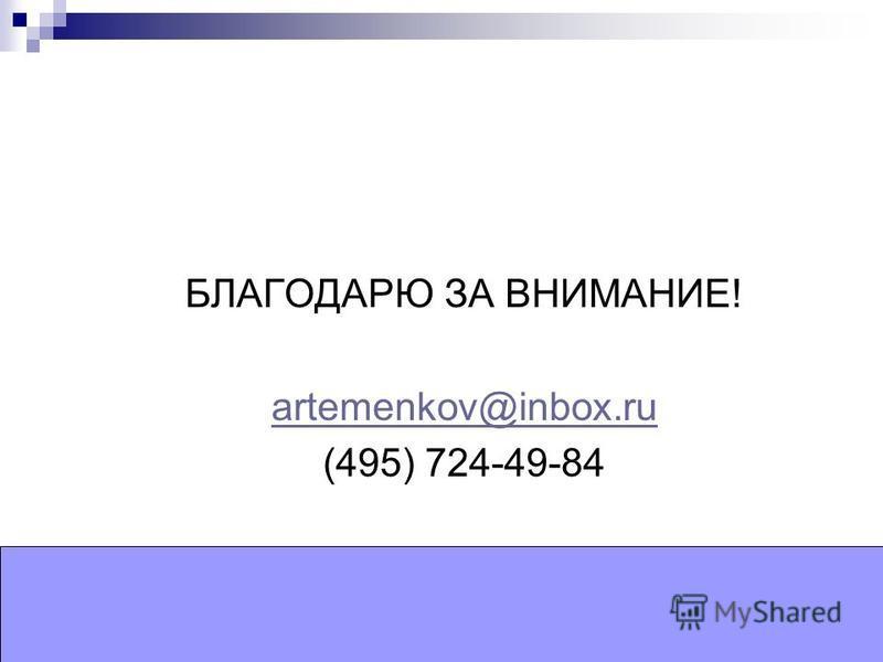 БЛАГОДАРЮ ЗА ВНИМАНИЕ! artemenkov@inbox.ru (495) 724-49-84