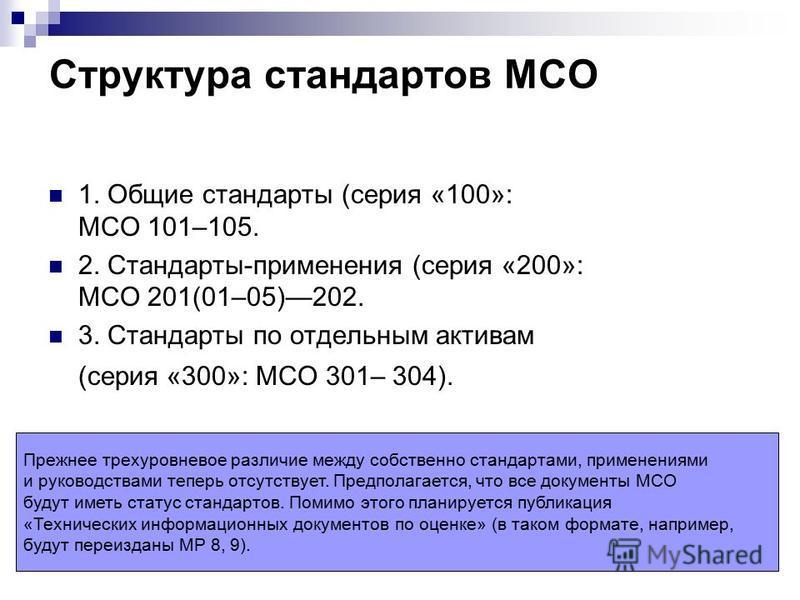 Структура стандартов МСО 1. Общие стандарты (серия «100»: МСО 101–105. 2. Стандарты-применения (серия «200»: МСО 201(01–05)202. 3. Стандарты по отдельным активам (серия «300»: МСО 301– 304). Прежнее трехуровневое различие между собственно стандартами