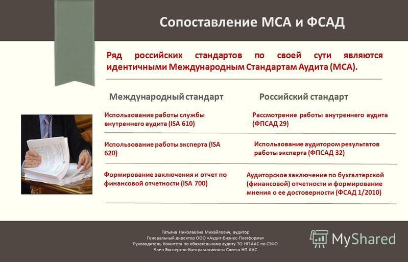 Международный стандарт Ряд российских стандартов по своей сути являются идентичными Международным Стандартам Аудита (МСА). Сопоставление МСА и ФСАД Российский стандарт Использование работы службы внутреннего аудита (ISA 610) Рассмотрение работы внутр