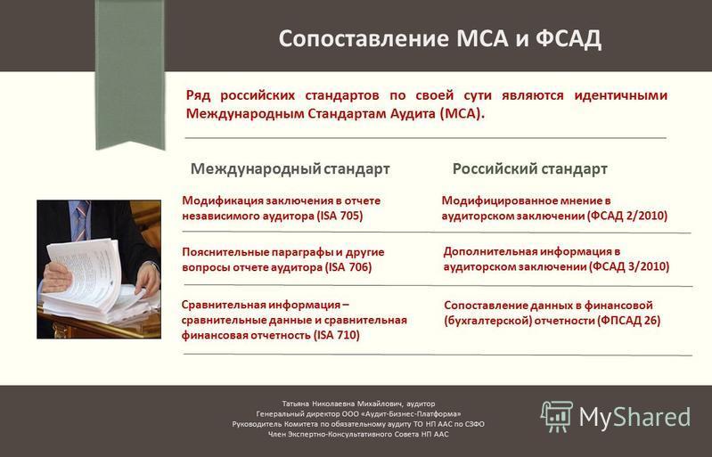Международный стандарт Ряд российских стандартов по своей сути являются идентичными Международным Стандартам Аудита (МСА). Сопоставление МСА и ФСАД Российский стандарт Модификация заключения в отчете независимого аудитора (ISA 705) Пояснительные пара