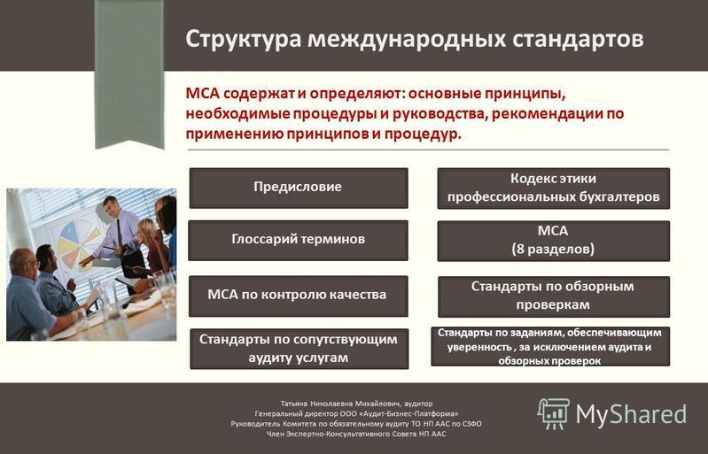 Структура международных стандартов МСА содержат и определяют: основные принципы, необходимые процедуры и руководства, рекомендации по применению принципов и процедур. Предисловие Кодекс этики профессиональных бухгалтеров Глоссарий терминов МСА (8 раз